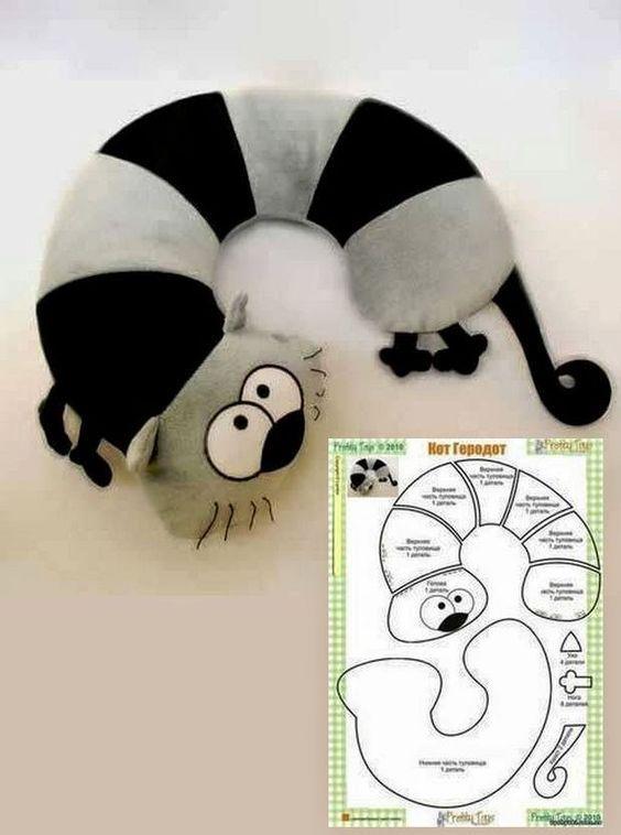 Almofada de pescoço de gato - ARTE COM QUIANE - Paps,Moldes,E.V.A,Feltro,Costuras,Fofuchas 3D: Gatos: