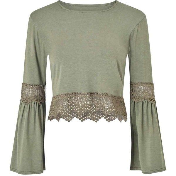 Miss Selfridge PETITE Flute Sleeve Crochet Trim Top (£34) ❤ liked on Polyvore featuring tops, khaki, petite, green top, petite tops, khaki top, cut-out crop tops and miss selfridge tops