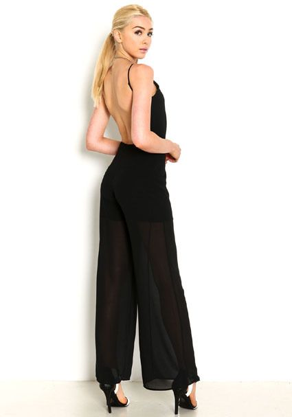 3fbf55c22d7 Fashion Women Jumpsuit Sleeveless Hollow Out Backless Elegant Chiffon Sexy  Jumpsuit Slim Regular Long Jumpsuits Summer NC-222 - Black