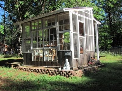 outdoor kitchens greenhouse (with recycled windows?)