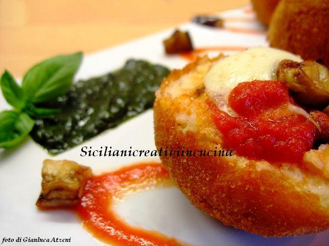 Arancini di polenta bianca alla Norma - Arancini with white polenta alla Norma