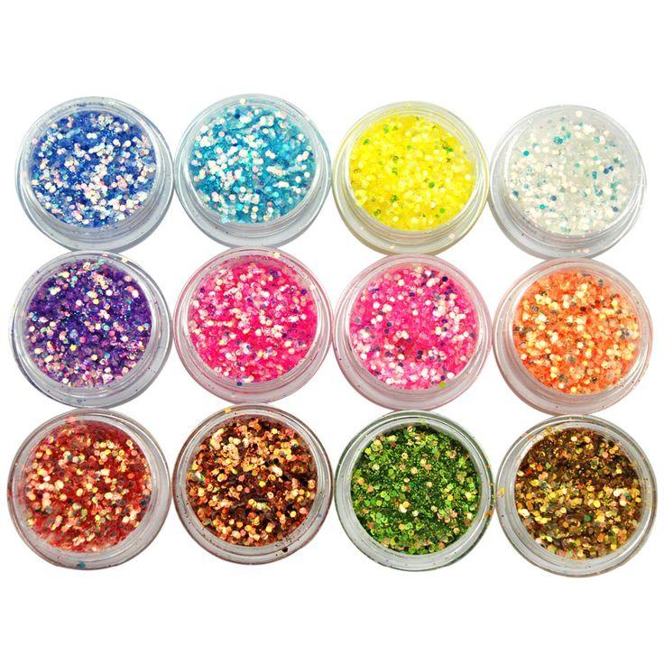 KADS NEW High Gloss Nail Powder 12 pots per set, Glitter Acrylic Powder Dust For Nail Art Tips