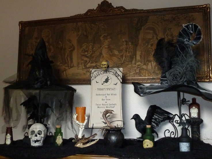 Halloween crows potions witch hats