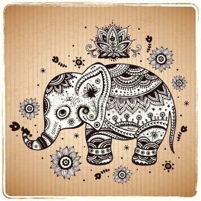 Arte vectorial : Beautiful vector ethnic elephant