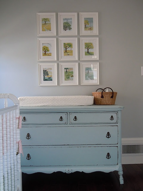 i like the idea of an antique dresser doubled as a changing table!