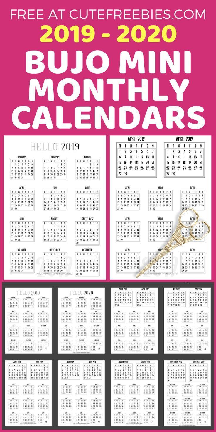Calendrier Bullet Journal 2020.Free 2019 2020 Bullet Journal Calendar Printable Stickers