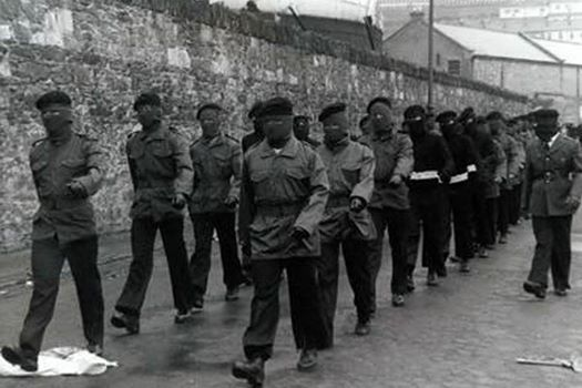 :P...Bottom of Stanelys walk in the bogside. Patsy O'Hara's funeral 1981