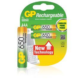 GP NIMH Oplaadbare AAA Mini Penlite 1,2V 650mAh 2 stuks  Capaciteit: 650 mAh • Voltage: 1.2 V • Systeem: NiMH • IEC code: R03 • Overig: AAA, Micro, Mini Penlite • Hoogte: 44.5 mm • Diameter: 10.5 mm • GP no.: GPRHCH63C012 / GP65AAAHCE-2CPUWC2 • ean: 4891199109799