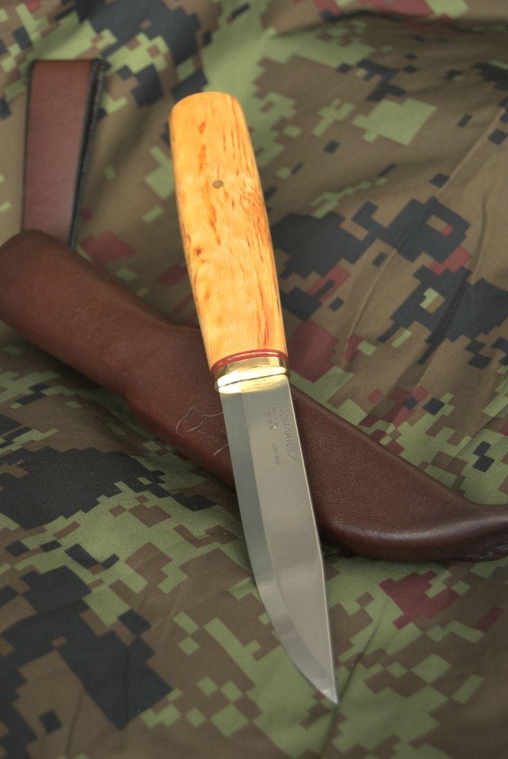 Bushcraft Puukko Knife With Mora Morakniv Scandinavian Knife Blade Handmade Curly Birch Handle And Nordic Leather Sheath Knife Bushcraft Knives Antler Knife
