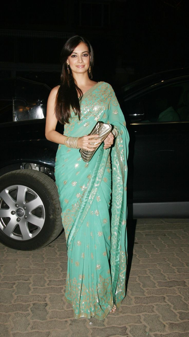 Diya Mirza in blue georgette saree with gold sequin work and satin self colour border