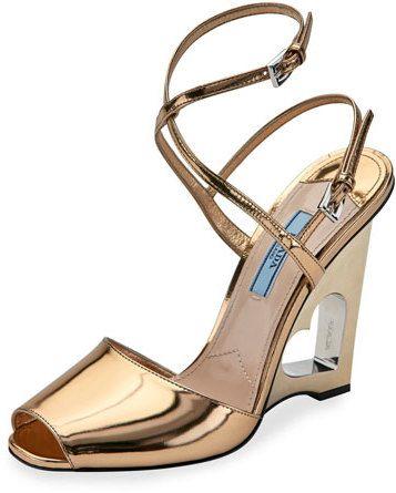 Prada Heart-Cutout Wedge 110mm Sandal, Platino