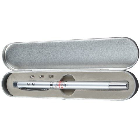 Extendable Telescopic Presentation Pointer Pen with LED and Laser (Silver)
