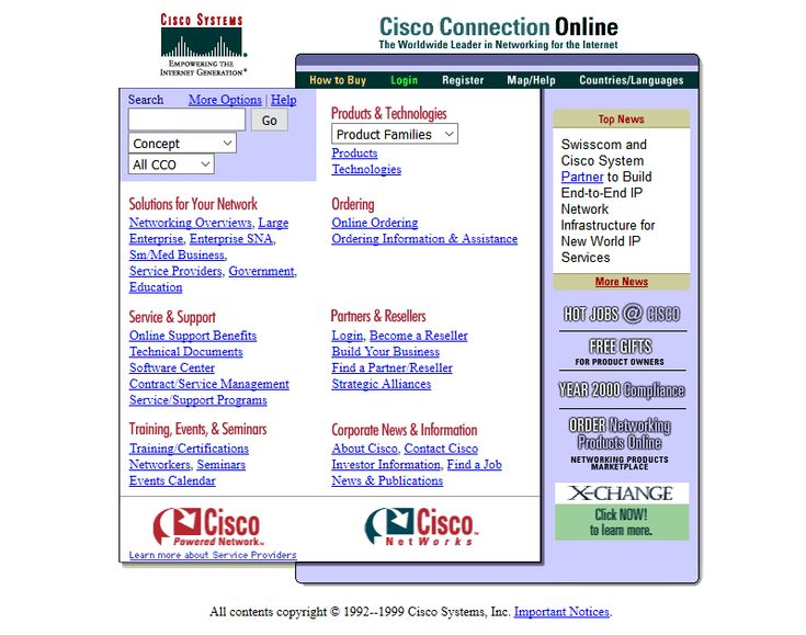 Cisco website in 1999