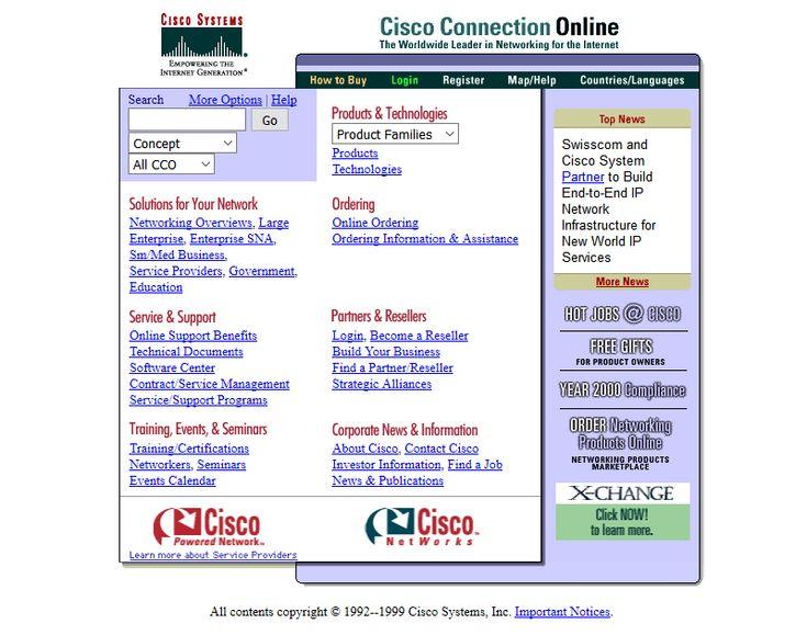 Cisco website in 1999