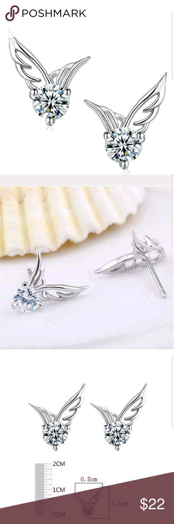 Sterling Silver Jewelry angel Wings Studs 100 Brand new.Rhinestone . Material Alloy.  Lead Free, Nickel Free. Jewelry Earrings