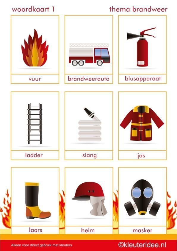 woordkaarten 1, thema brandweer, juf Petra van kleuteridee.
