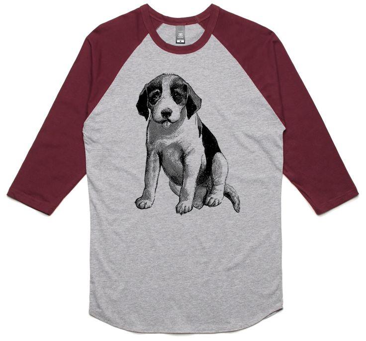 theIndie Vintage Puppy Illustration (Black) 3/4-Sleeve Raglan Baseball T-Shirt