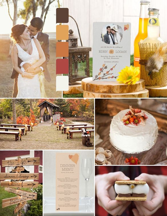 Rustic fall autumn wedding inspiration. Love the warm earthy colors on this palette!