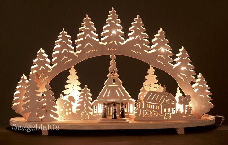 3D Schwibbogen, Seiffener Kirche mit Tannen, Lichterbogen,  62 cm