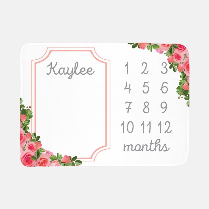 Monogram Baby Blanket Floral Roses - Baby Month Blanket - Milestone Blanket - Baby Name Blanket - Baby Photo Prop - Baby Shower Gift by KingCloverCases on Etsy https://www.etsy.com/listing/527326284/monogram-baby-blanket-floral-roses-baby