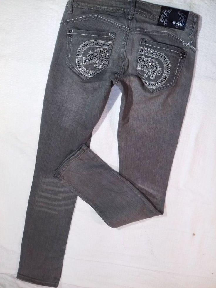 ladies jeans ECKO RED skinny leg gray XS #EckoRed #SlimSkinny