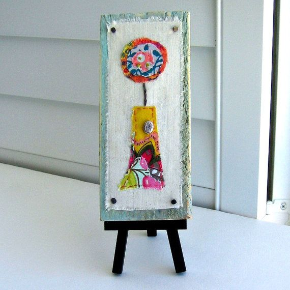 fiber, collage  appliqued flower art, small easel art, fabric scrap flowers, mixed media, flower vase art, reclaimed wood block art - No.102