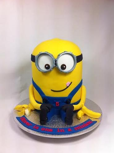 3D Minion with Bananas 5th Birthday Cake by www.carryscakes.com.au