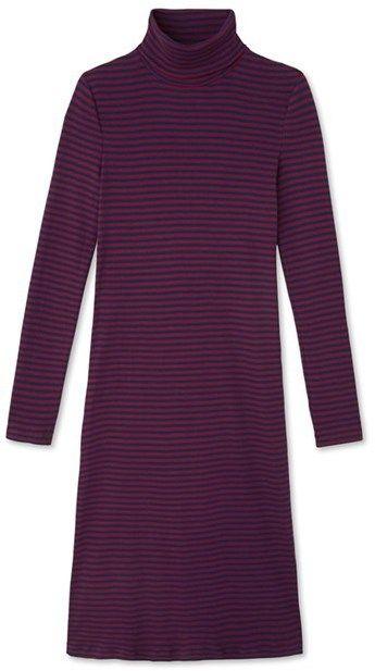 Womens striped roll-neck dress in ultra light cotton