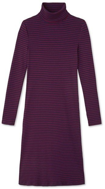 Womens striped roll-neck dress in ultra light cotton