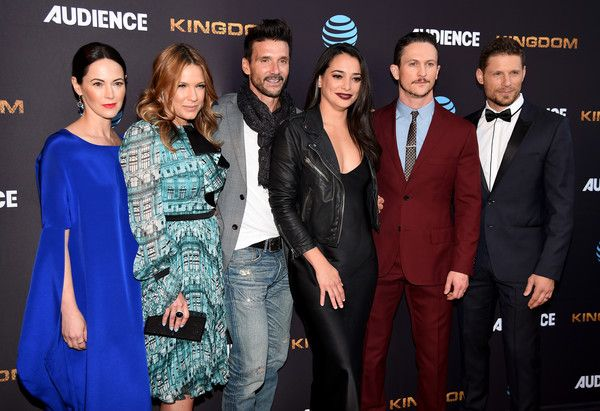 "Jonathan Tucker Photos Photos - (L-R) Actors Joanna Going, Kiele Sanchez, Frank Grillo, Natalie Martinez, Jonathan Tucker, and Matt Lauria arrives at the premiere screening for DirecTV's ""Kingdom"" at the Harmony Gold on May 25, 2016 in Los Angeles, California. - Premiere Screening For DirecTV's 'Kingdom' - Red Carpet"