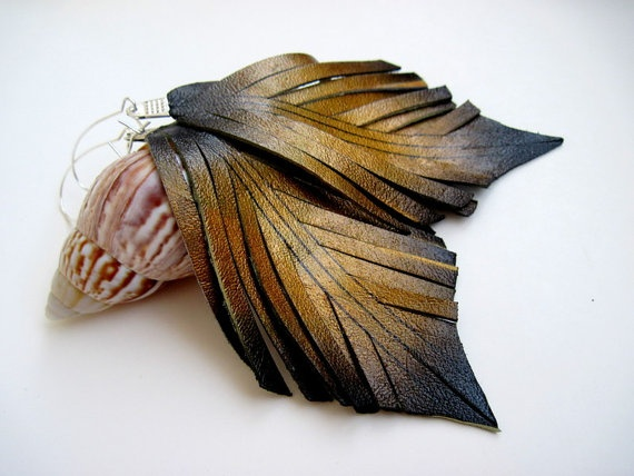 Long Leather Earrings Leather Jewelry Feather Wing by CraftyMosaic, $14.00