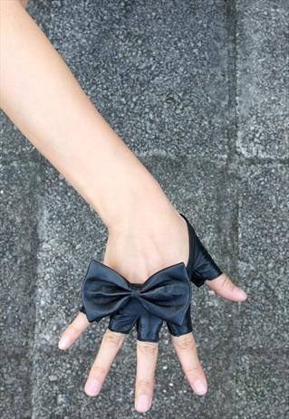 Black Oversized Bow Fingerless Leather Gloves Semi Palm | lesdebutantes | ASOS Marketplace (£8.00) - Svpply