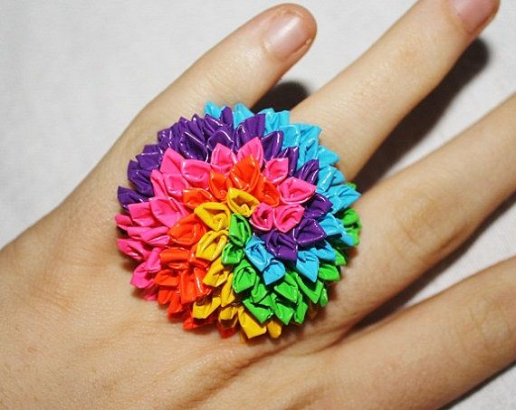 Rolled Petal Neon Rainbow Duct Duck Tape Ring