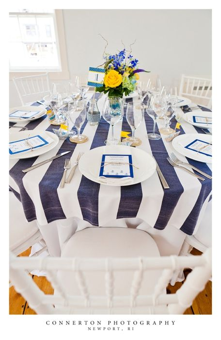 See more Wedding Themes here:  http://www.rehearsaldinnerguide.com/blog/#Nautical Theme navy blue and white stripe linens