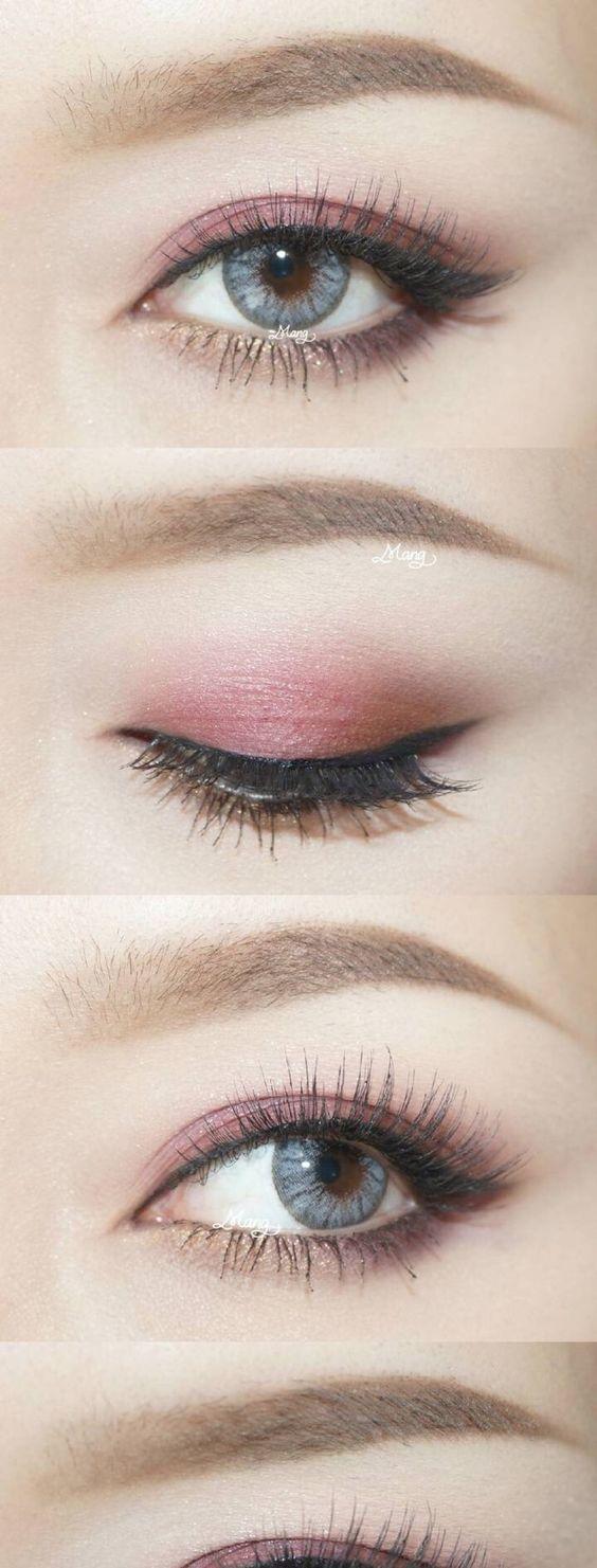 Pink eye makeup look; subtle winged eyeliner