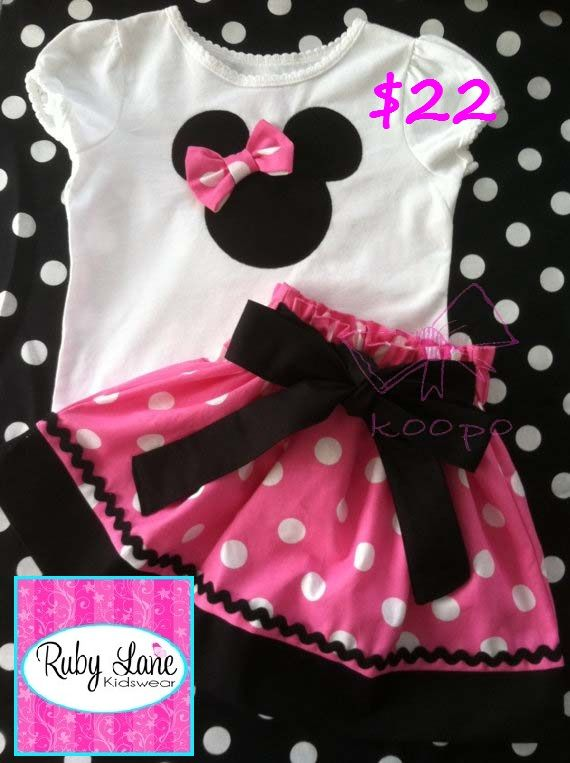 Minnie Party Set. $22. Go to Ruby Lane Kidswear to buy and for more info. http://www.facebook.com/RubyLaneKidswear.  http://www.facebook.com/photo.php?fbid=211693842327734=a.204619253035193.1073741832.150596591770793=1