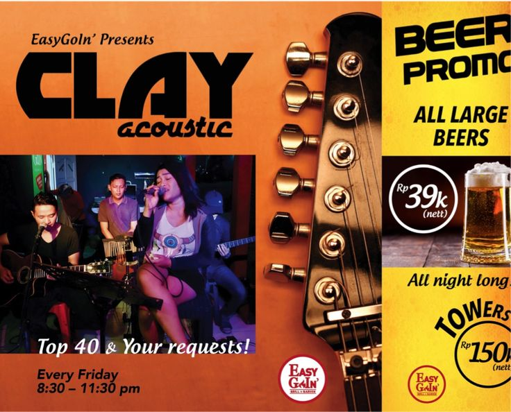 Like to sing  Clay Acoustic plays Top 40 and Indonesian hits every Friday from 8:30 pm at Easygoin' Grill & GardenThey take your requests or you can grab the mic and sing your favorite song.  BEER PROMO  All large beers only Rp 39k (incl. tax) Towers Rp 150k (incl. tax) #konserjogja #jogjakonser #livemusicjogja #jogjalivemusic #jogjanightlife #cafejogja #jogjacafe #hangoutjogja #jogjahangout #nongkrongjogja #jogjanongkrong #jogjamusikgram #jogjamusik #musikjogja