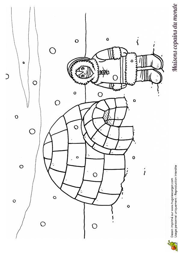 Coloriage / dessin igloo et esquimau