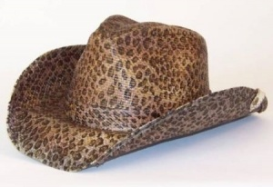 Rowdy Cowboy Hat by Peter Grimm. This Rowdy straw cowboy hat is done in a leopard print. Features a stash pocket on the inside and clip to hang your hat. Features the Peter Grimm Elasta-Fit stretch sweatband for increased flexibility and comfort. Made with a wire enhanced brim to allow you to twist, bend flex, roll, shape, and torque to fit your style. Get you one at www.KillerCrowns.com for $32.00 USD