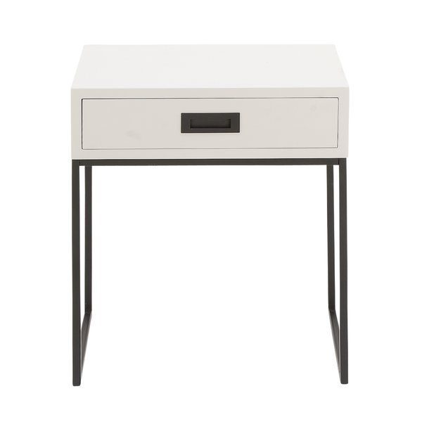 This End Table with Storage is a modern reflection end table, rectangular white Chinese red pine wood drawer with black handle and metallic black U-shaped iron legs.