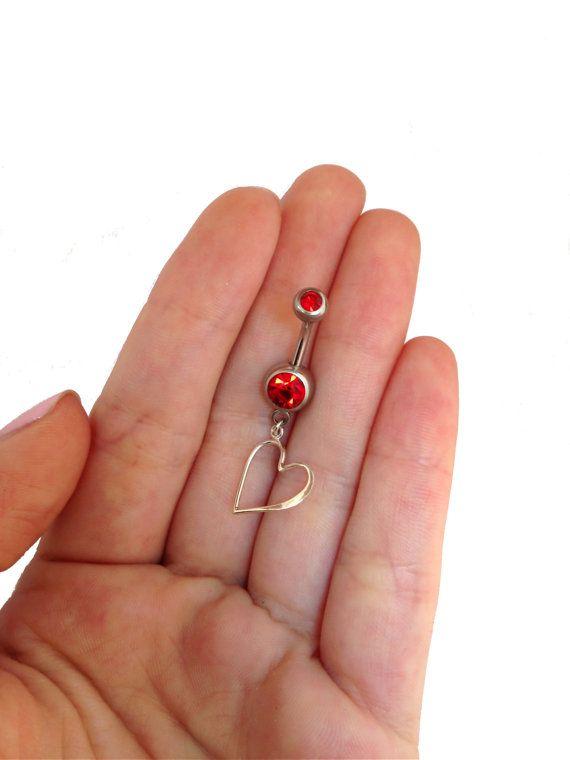 925 argent nombril piercing avec pendentif coeur, bijoux de corps doux, cadeau, anneau de nombril coeur, perçage du Sterling rouge