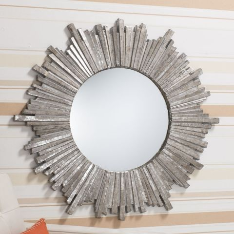 Gallery Direct Alassia Round Mirror In Silver Next Day Delivery
