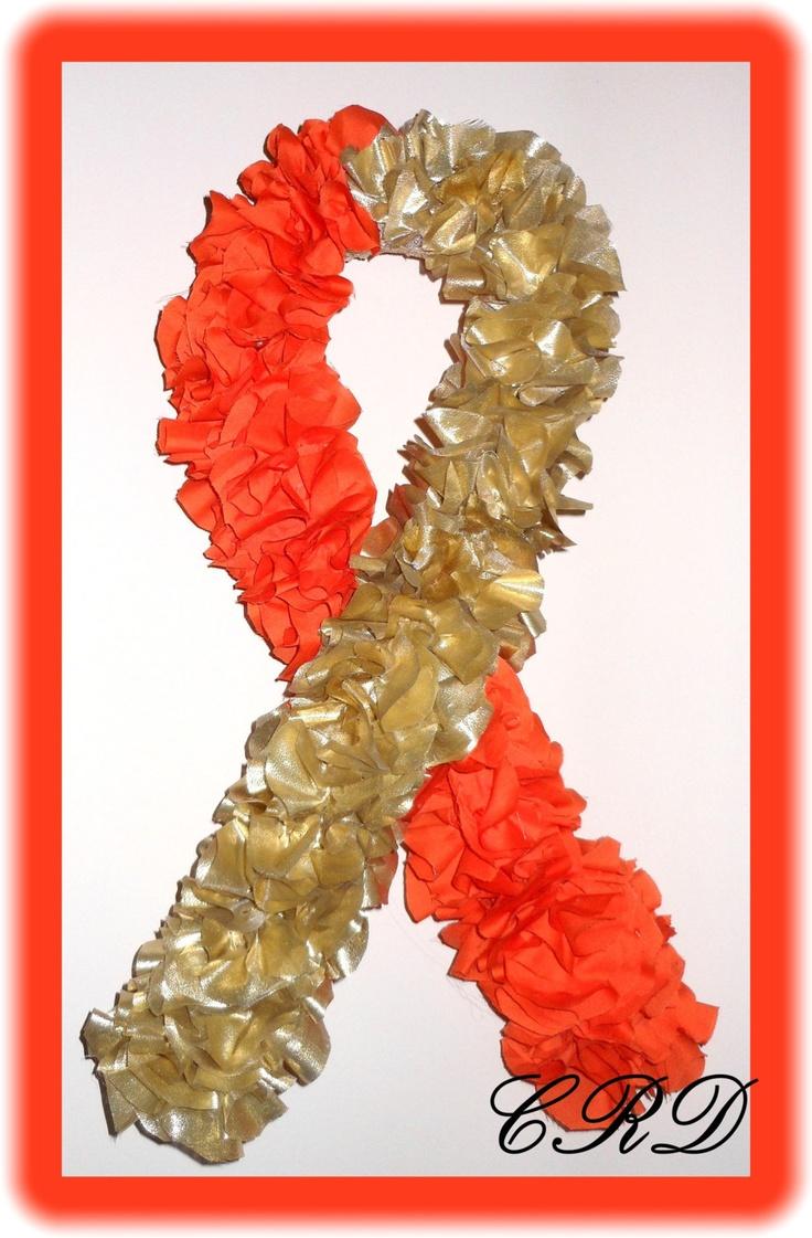 Childhood Cancer Leukemia Awareness GOLD and ORANGE Wreath