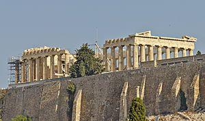 Partenón  es uno de los principales templos dóricos que se conservan, construido entre los años 447 y 432 a. C. Está dedicado a la diosa griega Atenea, a la que los atenienses consideraban su protectora.