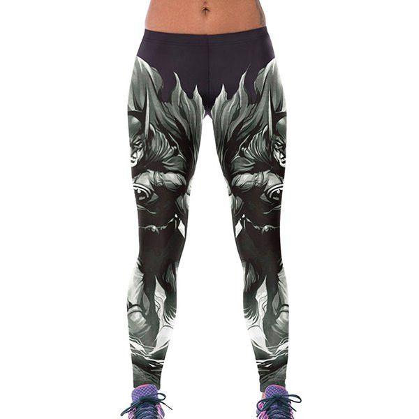 Chic Elastic Waist Bodycon Batman Print Women's Leggings