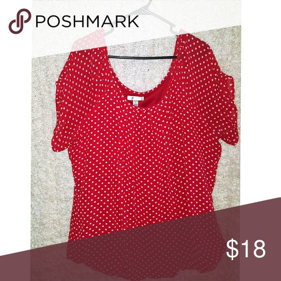 Red Polka Dot Top Red top with white polka dots. Has elastic at the waist and looks great with slacks or a pencil skirt. Top is a sheer material and is lined. Perfect for work! Dress Barn Tops Blouses