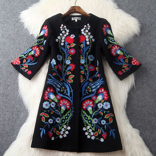 2015 autumn winter designer womens outwear black wool blends coat red blue flower embroidery fashion vintage brand coat jacket