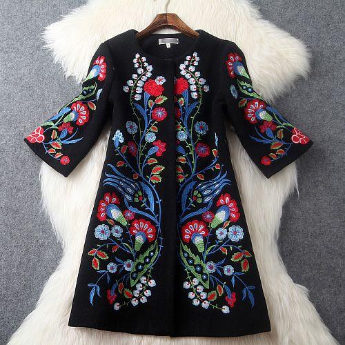 2015 autumn winter designer womens outwear black wool blends coat red blue flower embroidery fashion vintage brand coat jacket
