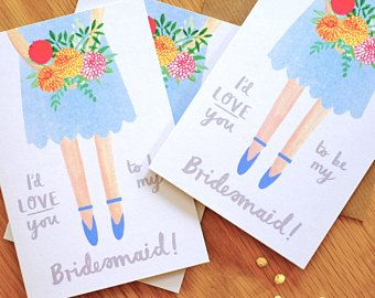 Will You Be My Bridesmaid Illustrated Girlfriend Card Proposal by Stephanie Cole Design ©2018
