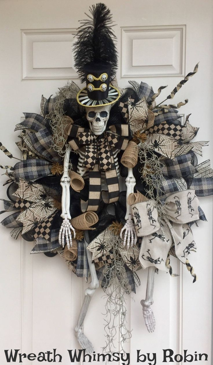XL Halloween Skeleton Deco Mesh Wreath in Tan & Black, Front Door Wreath, Fall Wreath, Victorian Skeleton, Halloween Decor, Rustic Skeleton by WreathWhimsybyRobin on Etsy